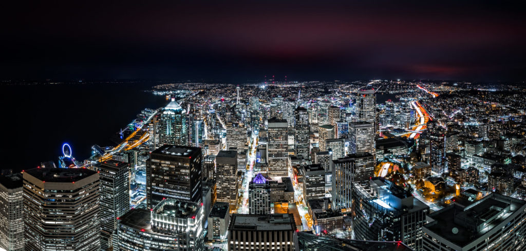 Panoramic aerial view of Seattle downtown skyline by night